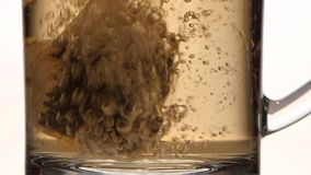 Boiling water is poured in cup with pyramid tea bag. Brewed tea, pure glass transparent mug with handle, water is colored brown, side view, white studio stock footage