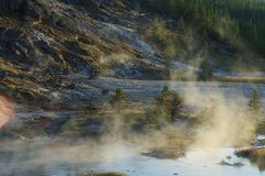Boiling water steam and mist Stock Image