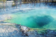 Boiling water and sulfur Royalty Free Stock Images