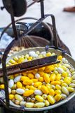 Boiling White and Yellow silkworm cocoons in the pot to make Silk Thread, Boil Silk Nest with Silk Reeling. In Thailand stock photos
