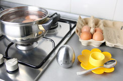 Boilling eggs stock image