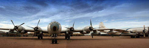 Boing B-29 Superfortress (groot panorama) Stock Afbeelding