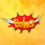 Boing comics sound effect with halftone pattern on yellow Royalty Free Stock Photography
