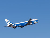 Boing 747-8F. Sheremetyevo Airport -14 March 2015: Boing 747-8F aircraft, AirBridgeCargo Airlines takes off into the blue sky March 14, 2015, Sheremetyevo Stock Image