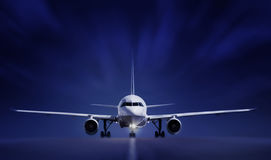 Boing on runway. At night royalty free stock photo
