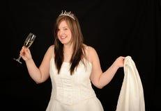 boire de champagne de mariée Image stock