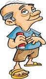 Boire mignon de vieil homme de bande dessinée illustration libre de droits