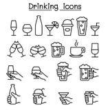 Boire, verre dans l'icône de main réglée dans la ligne style mince illustration de vecteur