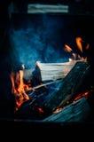 Bois brûlant Photo stock