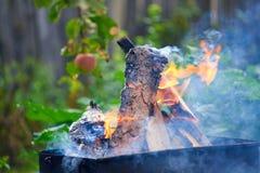 Bois brûlant dans un chaudronnier Incendie, flammes Photo libre de droits
