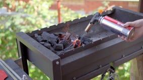 Bois brûlant dans un chaudronnier Incendie, flammes Gril ou barbecue banque de vidéos