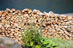 Bois d'incendie de la pile o f Images libres de droits