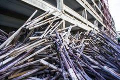 Bois dans des chantiers de construction Photographie stock libre de droits