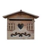 Bois de boîte aux lettres sur le fond blanc Image stock