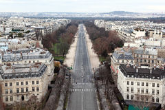 Bois de Boulogne in Paris. View from Arc de Triomphe on Bois de Boulogne in Paris, France Royalty Free Stock Photo