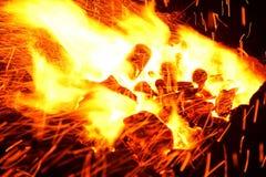 Bois de chauffage brûlant dans la fin de cheminée  Image stock