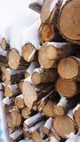 Bois de chauffage dans la neige, tombée dans la neige photographie stock libre de droits