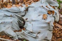 Bois de chauffage dans un vieux sac creux photographie stock libre de droits