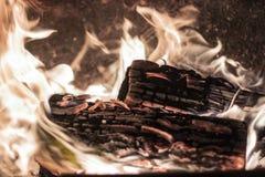Bois de chauffage en flammes chaudes images stock
