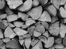 Bois de chauffage noir et blanc Photo stock