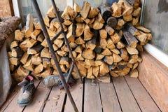 Bois de chauffage pour le sauna Photographie stock