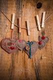 Bois de coeur main-cousu par fond de Valentine en bois Image libre de droits