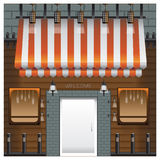 Bois de fenêtre de Front Coffee Shop et de lampe de brique de porte Images libres de droits