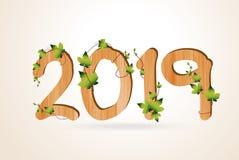 Bois de la bonne année 2019 avec le feuillage tropical de feuilles photos stock