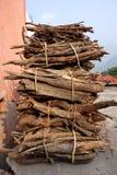 Bois du feu empaqueté par le villageois rural image stock