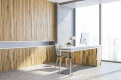 Bois et fauteuil moderne concret de lieu de travail de bureau