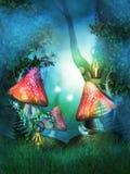 Bois féerique avec de grands champignons rouges Photographie stock