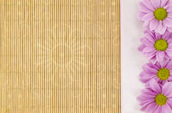 Bois, fond en osier avec le ruban rose et fleur Image stock