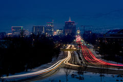 Boise Capital boulevard night light streaks Royalty Free Stock Photo