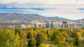 Boise city park filled with autumn colored trees Stock Photo