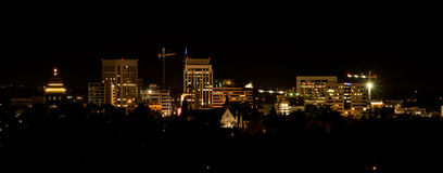 Boise City skyline at night with light Royalty Free Stock Photos
