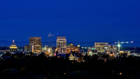 Boise City skyline at night with street lights Royalty Free Stock Photos