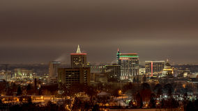 Boise city skyline in winter and at night Royalty Free Stock Images