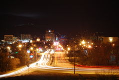 Boise Downtown. Nightime time-lapse picture of Downtown Boise, Idaho. View from the train depot Stock Photo