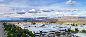 Aerial view of Micron Technology and looming clouds Stock Photo