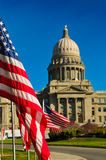 Boise Idaho Capital. Boise Idaho State Capital Building with flag in focus and building out of focus Stock Photography