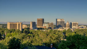 Boise Idaho City skyline with Americal Flag Stock Photos