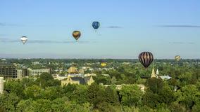 Boise Idaho city of trees and many hot air balloons. Hot air balloons over the famous trees of Boise stock photos