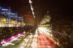 Boise, Idaho at Night. Long exposure of Boise Capitol Boulevard with Zoom Out Stock Photography