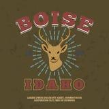 boise idaho t-skjorta grafiskt tryck vektor Royaltyfria Foton
