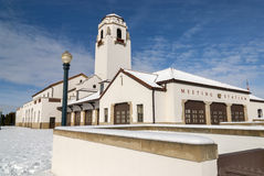 Boise Idaho train depot covered with snow Royalty Free Stock Photography