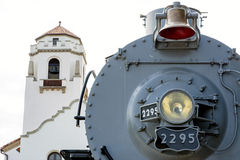 Boise Idaho train depot and old engine Stock Photo