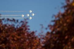 """Boise Idaho, USA †""""Oktober 15, 2017 U.S.A.F.-Thunderbirds som utför på Gowenen, åskar airshow på Oktober 15, 2017 Royaltyfri Fotografi"""