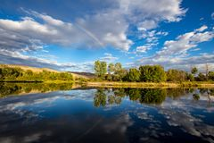 The Boise River in Boise, Idaho. Barber Pool on the Boise River next to the foothills in Boise, Idaho, USA Royalty Free Stock Images