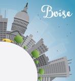 Boise Skyline avec Grey Building, le ciel bleu et l'espace de copie Photographie stock libre de droits