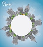 Boise Skyline with Grey Building, Blue Sky and copy space Royalty Free Stock Images